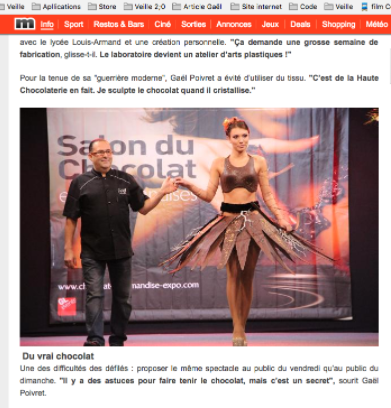 article presse Gaël salon du chocolat